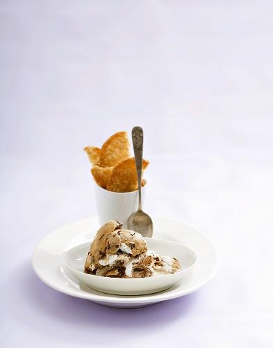 Chocolate and vanilla ice cream in small dish