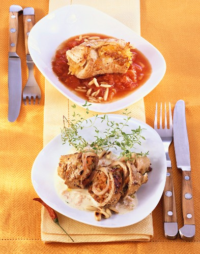 Veal roulade with pumpkin and turkey roulade with apricot
