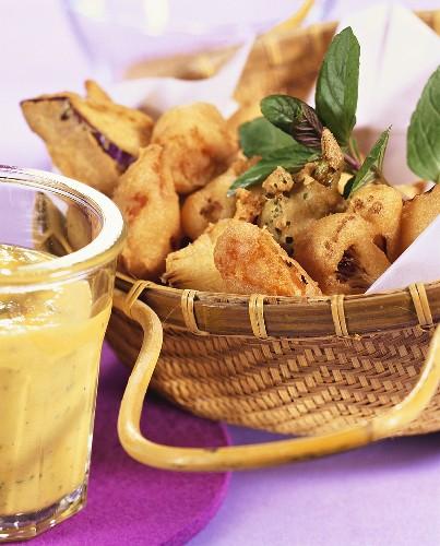 Pakoras (fried, battered vegetables with dip, India)