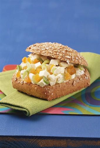 Apricots and mozzarella in bread roll