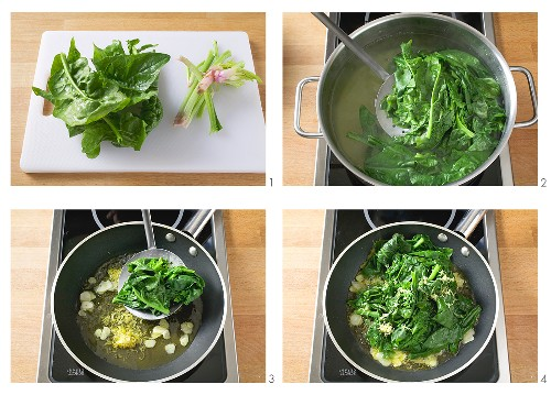 Preparing and cooking winter spinach with lemon oil