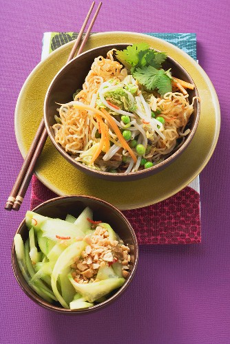 Fried Asian noodles and cucumber salad