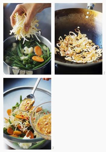 Making Indonesian vegetable salad