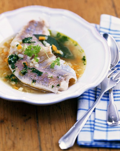 Trout in wheat beer and parsley soup