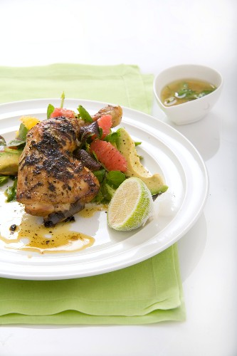 Margarita chicken with grapefruit & avocado salad and tequila dressing