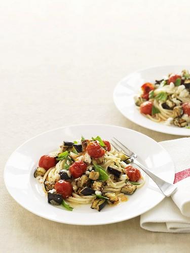 Pasta alla norma (pasta with aubergines, tomatoes and ricotta)