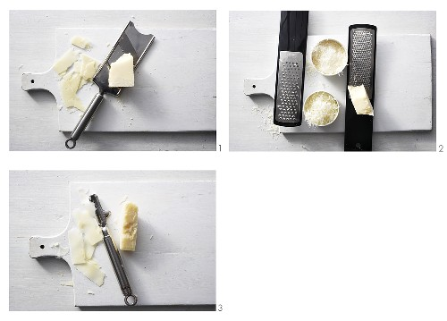 Slicing, grating and shaving Parmesan (with vegetable peeler)