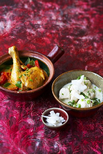 Red Thai chicken curry and green chicken curry