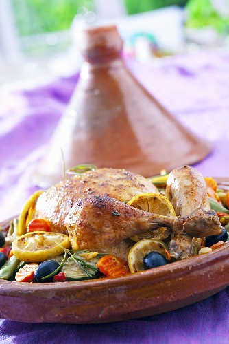 Chicken with olives, carrots and lemons (North Africa)