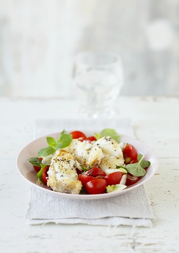 Monkfish fillet with tomato and mint salad
