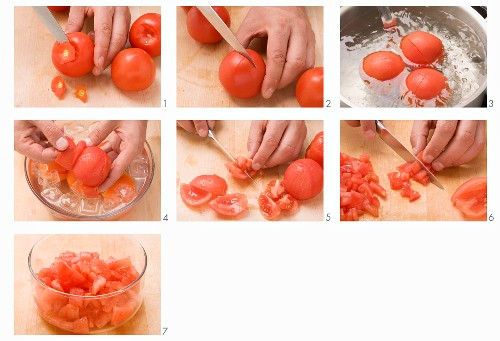 Tomatoes being peeled and chopped