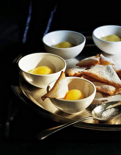 Crispy apple samosas with apple sorbet
