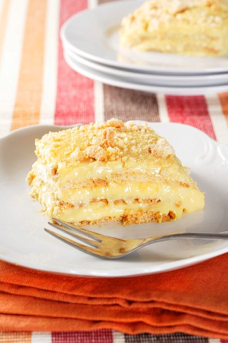 A piece of cake with vanilla custard filling