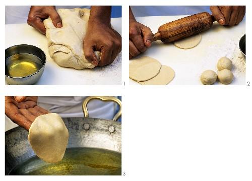 Making poori (Deep-fried unleavened bread, India)