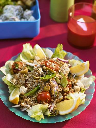 Bulgur wheat salad with vegetables & Quorn (meat substitute)