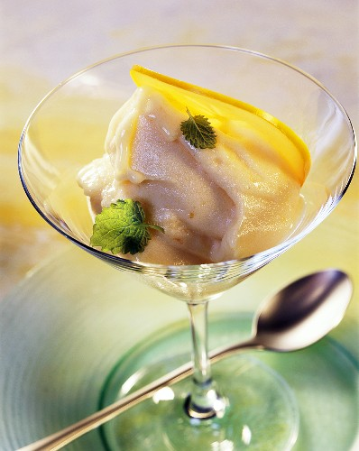 Sharon fruit and apple sorbet with honey