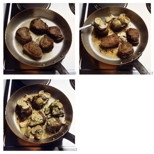Preparing fillet of young venison with ceps