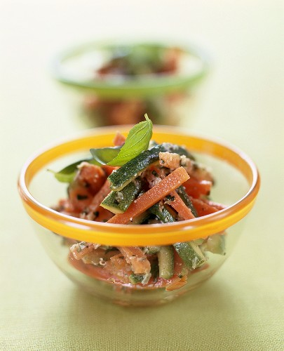Carrot and courgette salad with almond pesto
