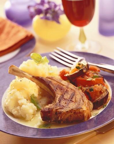 Lamb chop with ratatouille and mashed potato