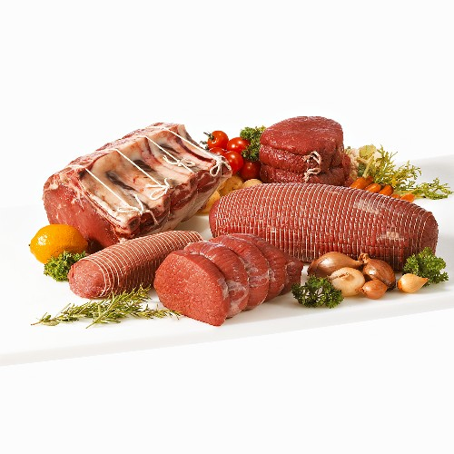 Various joints of beef for roasting