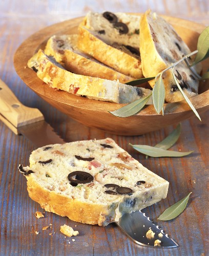 Olive bread, sliced