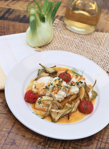 Pescatrice arrosto (Roasted monkfish with vegetables, Italy)