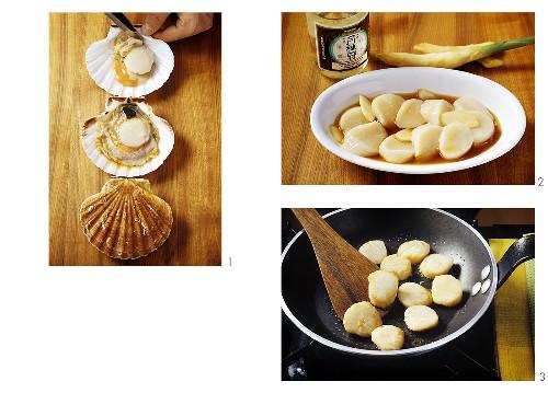 Preparing, marinating & frying scallops (for chop suey)