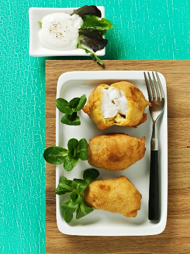 Monkfish in beer batter with corn salad
