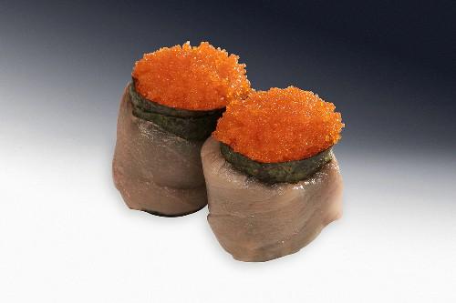 Gunkan maki with fish and caviar