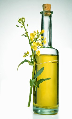 A bottle of rapeseed oil with flowers