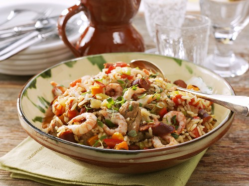 Jambalaya (Rice stew with chicken, sausage and shrimps)