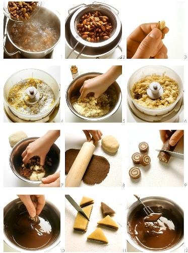 Making marzipan chocolates