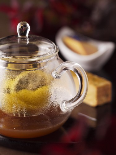 Goose liver terrine with a pot of tea