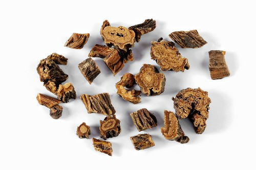 Pieces of dried gentian root
