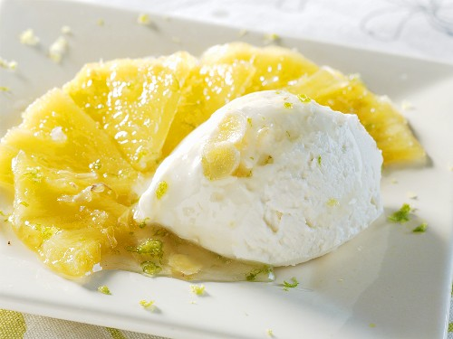Fresh goat's cheese ice cream on fried pineapple with ginger