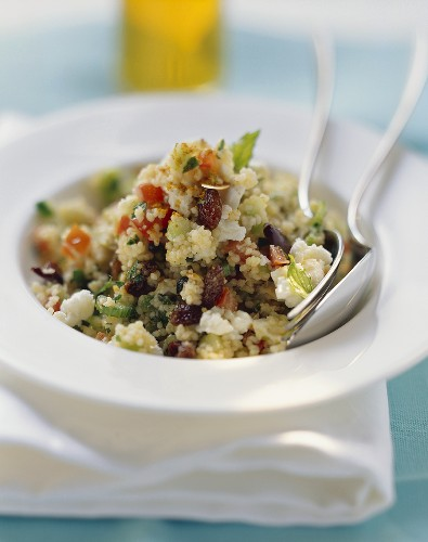 Couscous salad with vegetables, feta, raisins & argan oil