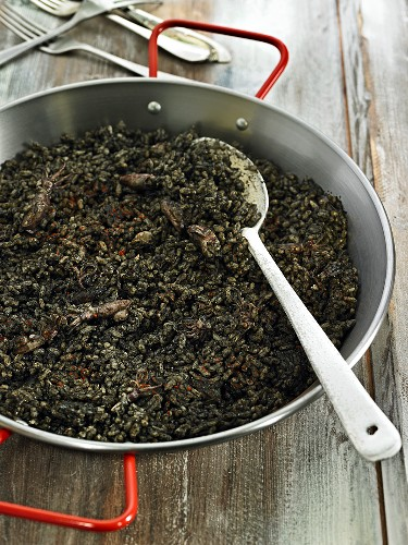 Arroz negro (black rice with seafood, Spain)