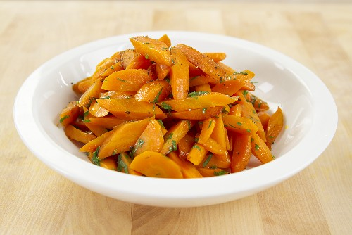 Cooked carrots with parsley