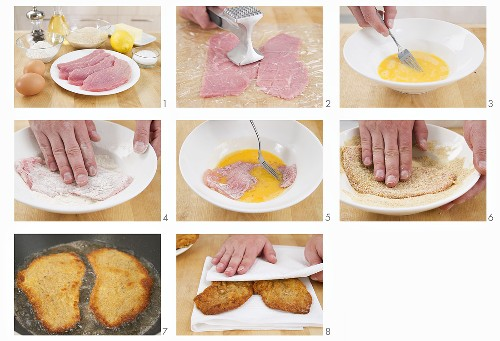 Breaded veal escalope being prepared