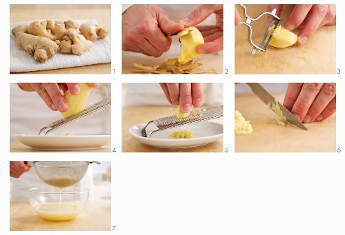 Ginger being prepared (cutting, peeling, grating)