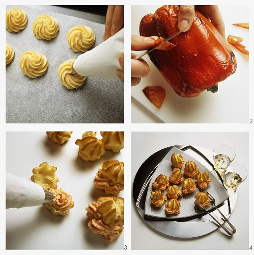 Preparing choux pastry puff with paprika mousse