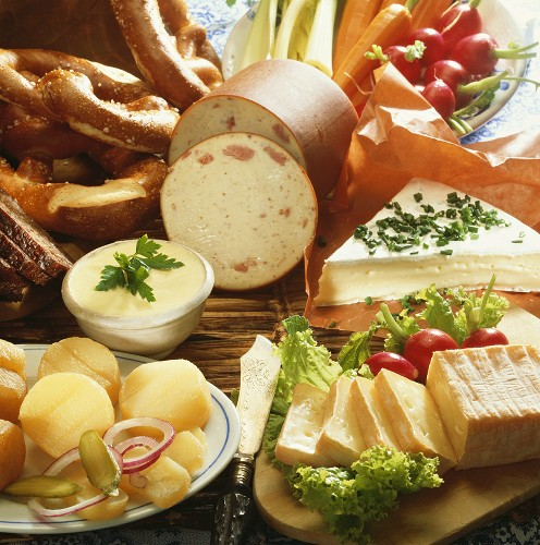 Platter of cheese and sausages for hearty snack