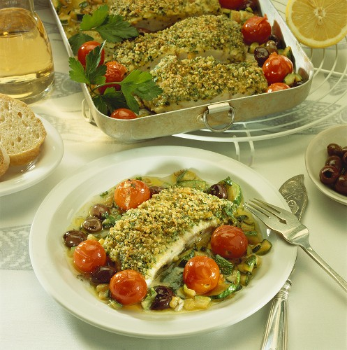 Catfish with herb and almond crust and vegetables