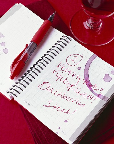 Notebook with red wine stains