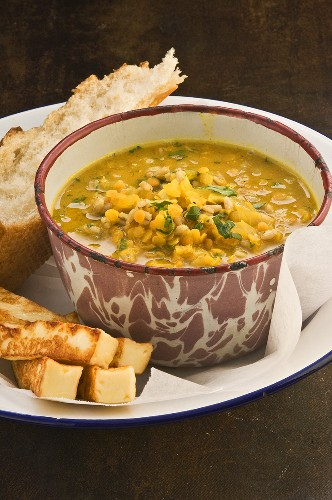 Lentil and pearl barley soup