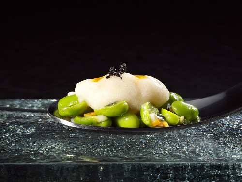 Faux floating island, green beans and crustacean pil (molecular gastronomy)