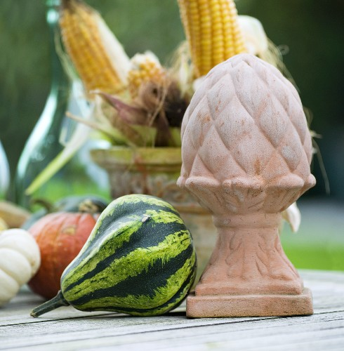 Ornamental pumpkins, a terracotta statue and corn cobs on a garden table