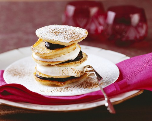 Bohemian sour cream pancakes with plum jam & whipped cream