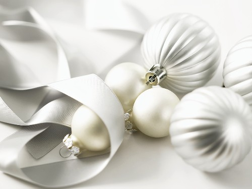 Silver Christmas baubles and ribbon