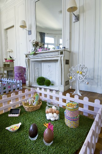 Easter decorations in living room